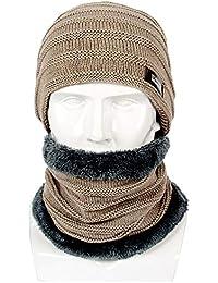 KILTYEN Conjunto De Bufanda para Gorro De Gorro para Hombre Slouch Plus  Terciopelo Grueso Cuello De Lana Sombrero De Cuello Cálido… 88570e192eb