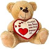 matches21 Teddybär Teddy mit Herz DU BIST DAS Beste Hellbraun / beige 25 cm Geschenk Klassiker Partner Freundin Valentinstag