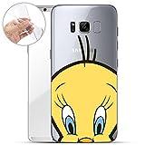 finoo   Samsung Galaxy S8 Weiche flexible lizensierte Silikon-Handy-Hülle   Transparente TPU Cover Schale mit Looney Tunes Motiv   Tasche Case mit Ultra Slim Rundum-schutz   Tweety Close Up 2