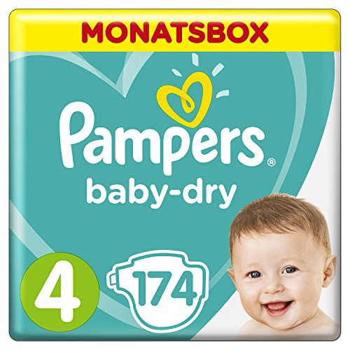 Pampers Baby Dry Windeln, Gr. 4 (8-16 kg), Monatsbox, 1-er Pack (1 x 174 Stück) (Innere Packs)