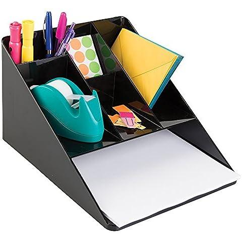 mDesign - Organizador de escritorio, para suministros de oficina; guarda tijeras, lapiceras, marcadores, resaltadores, cinta - con bandeja para papel - Negro