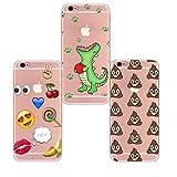Freessom Lot de 3 Coque iPhone 7 Plus/8 Plus Transparente Silicone Motif Dinosaure Caca Emoji Ananas Drole Kawaii Souple Dessin Originale Fantaisie Anti Choc Cadeau Pas Cher