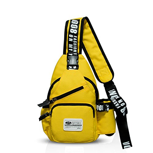 FANDARE Mode Sling Bag Monospalla Borse a Spalla Zaino Spalla Borsa a Tracolla Crossbody Bag Borsello Marsupio Zainetto Crossbody Chest Bag Hiking Bag Zaino Uomo Donne Poliestere Giallo
