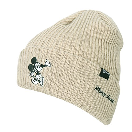 Disney Mickey Maus Persönlichkeit Text Stickerei Beanie Fold-Over gestrickt Winter Hut , Beige (Text Beanie)
