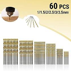 MOHOO HSS Shank Drill Bit Set 60PCS 1/1.5/2/2.5/3/3.5mm High Speed Steel Drill Bits Tools Titanium Coated For Wood Plastic and Aluminum Copper Steel