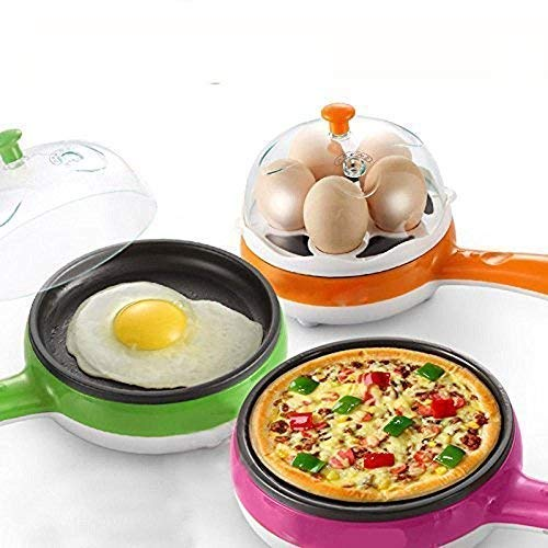 KWT 2 in 1 Multifuctional Steaming Device Egg pan Frying Egg Boiling Roasting Heating Electric Mini Egg Boiler Poacher & Steamer Electric Automatic Egg Frying Pan Non Stick (Multi Color)