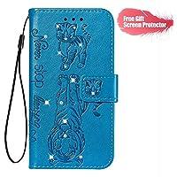 Fatcatparadise Funda para Huawei P30 Lite [con Protector Pantalla], Carcasa con Tapa Flip Case Antigolpes Parachoques Golpes Cartera Billetera PU Cuero Suave Case Cover (Azul)