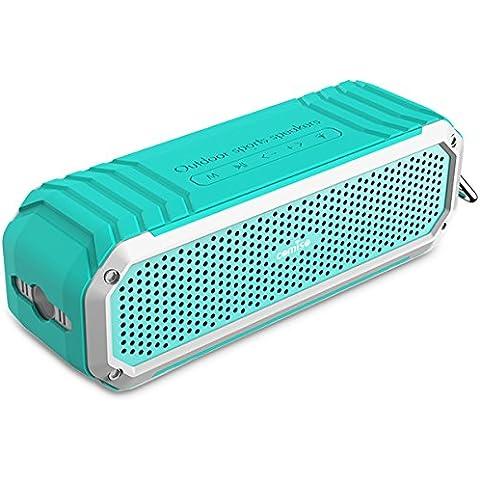 Altavoz Inalámbrico Bluetooth 4.0 COMISO [Max_Audio] Altavoz Impermeable a Prueba de Golpes para Interior y Exterior con Dual Estéreo 5W(Hasta 15 Horas de Uso) Micrófono y Linterna Integrados - (Menta