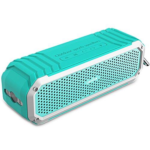 Bluetooth Lautsprecher, COMISO [Max_Audio] 10W Tragbarer Wasserdicht Lautsprecher Outdoor Bluetooth 4.0 Lautsprecher Speaker, 15 Stunden Wiedergabedauer Lautsprecher mit Mikrofo, Sport Lautsprecher mit Haken und LED Taschenlampe für Bad, Büro, Auto, Camping, Radfahren, - (Minzgrün)