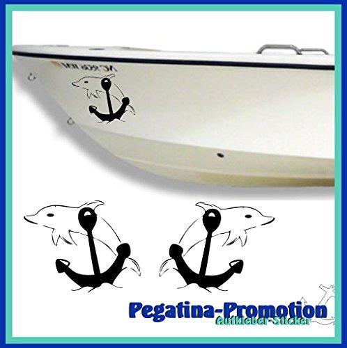 2x Anker mit springendem Delfin ca. 20x20 cm Aufkleber aus Hochleistungsfolie - viele Farben zur Auswahl - Angler Angelboot Sticker Boot Boote Beschriftung Bug Heck Fische Angeln Schlauchboot Nautic See Fischer Fischen