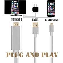 Upgraded enchufe y jugar adaptador Lightning a HDMI, Kupx 6pies de alto grado iphone 77Plus 55s 66s 6Plus 6S Plus iPad Mini Pro Lightning de MHL a HDMI para TV o coche HDMI 1080P Cable de alta calidad