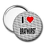 """Specchio tascabile con scritta""""I Love Bratwurst"""", idea regalo per compleanno"""
