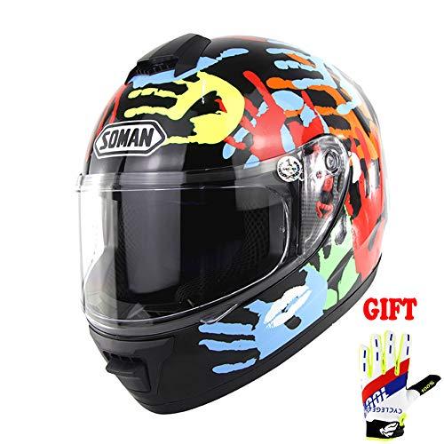 TANMIN DOT Approvati Fronte Pieno Casco della Motocicletta - con La Visiera del Casco del Motociclo Sacchetto del Panno Gratuiti più Colore Gloves - Big Five,L(59~60cm)