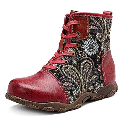 Seraph stivaletti da donna in pelle piatta retro snow-up winter autumn outdoor walking snow boots,red,eu39