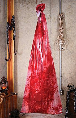 Blutiger Schlacht Sack Splatter Leiche im Beutel lebensgroß mit aufblasbarer Leiche im blutigen Sack Horror Hänge Deko Halloween (Leichenteile Halloween)