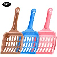 3 Piezas Cucharas de arena para gatos de plástico, livianas y duraderas, fáciles de limpiar para excremento de mascotas (color enviado al azar)