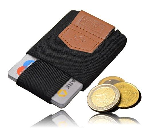 Premium Slim Wallet mit Münzfach - Das KLEINSTE Kartenetui & Mini Portemonnaie aus Textil - Bis 10 Karten & Münzen - Kleine Geldbörse, Minimalist Kreditkarten Etuis, Micro Geldklammer Geldbeutel (Slim Münzfach Wallet-mit)