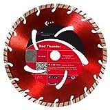 ADT Diamanttrennscheibe Red Thunder - Ø 230 mm / 22,23 mm Diamantscheibe mit 8 mm Turbo-Segment für allgemeine Betonerzeugnisse Betonprodukte, Beton, Bordstein, Dachziegel, Verbundstein