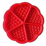 homiki Bakeware Haute qualité en Silicone gaufré Moules Mini en Forme de Cœur Moule de Gaufres Moule à Gâteau Chocolat Moule à Muffin Cuisson DIY Outil, Rouge