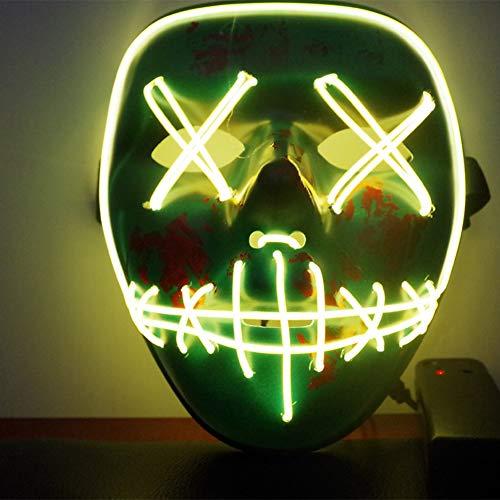 URMAGIC LED Halloween Masken,Erschreckend LED leuchten Maske,Für Festival,Cosplay,Halloween,Kostüm,Batterie Angetrieben(Nicht (Einfache Nicht Scary Halloween Kostüme)