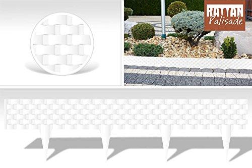 Clôture 0,8 m pour bordure gazon Plate-bande Effet rotin Fabriqué dans l'UE 0.8 white