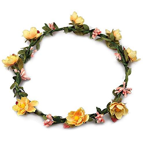 Mujeres chicas Boho Diademas de flores, Tukistore Tocado nupcial de la