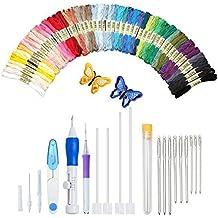 Extsud Kit Accesorios de bordado 50matassine Multicolor Ganchillo Agujas de repuesto Tijeras para punto de cruz Set completo herramienta costuras a mano regalo para amante de costura Fai Da Te