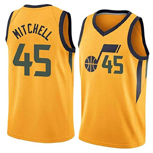 DFRTYE Basketballtrikot Donovan Mitchell # 45 Herren Basketball Jersey - NBA Utah Jazz,Basketball Swingman Jersey Unterhemd ärmellos,Yellow-XL (Basketball-unterhemd ärmelloses)