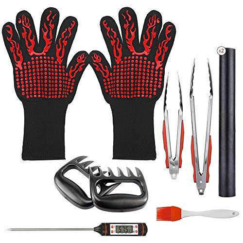 DangKe BBQ Grill Werkzeugset Grillbesteck Set 10-teilig,1 Paar Grillhandschuhe, 2 Grillmatte,Grillthermometer,Fleisch Krallen,2 Edelstahl Grillzange,Silikonwürzbürste zum Kochen