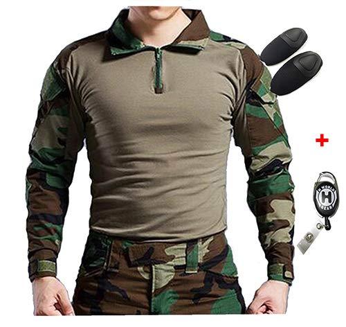 Camicia militare a maniche lunghe da caccia h world eu tactical con gomiti (woodland, l)