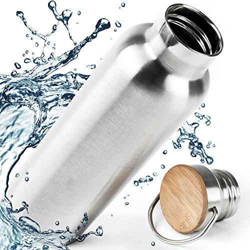 Isoliert & Normal Edelstahl Trinkflasche 750ml, 1000ml, 500ml - Bambus Kappe, BPA Frei, Ohne Logos. Wasserflasche 0.75L. 110% Lebensdauer GARANTIE.