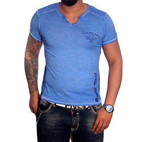 RUSTY NEAL Modisches Kurzarm Poloshirt Herren Sommer Print V-Neck T-Shirt 6771 Blau