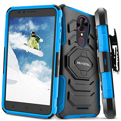 T-Mobile revvl Plus Fall, evocel [New Generation] Rugged Holster Dual Layer Case [Ständer] [drehbarem Gürtelclip] für T-Mobile revvl Plus, Blau (T-mobile Celular)