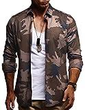 LEIF NELSON Herren Kurzarm Hemd Slim Fit Langarm Kurzarmhemd Freizeithemd Freizeit Party T-Shirt LN3460; S, Braun