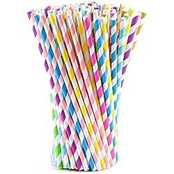 FEPITO 200 PCS Pajitas de papel pajitas de colores de rayas para la fiesta de cumpleaños, decoración de la boda, graduación, fuentes del partido