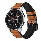 Circle Ersatz-Armband für Samsung Galaxy Watch 46 mm, 22 mm, Echtleder, Edelstahl-Verschluss, für 46 mm Samsung Galaxy Watch SM-800 / SM-R805