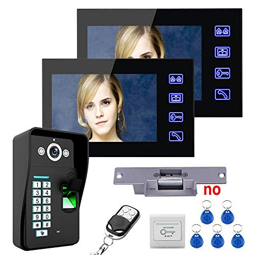 7 Zoll Video Türklingel, Fingerabdruckerkennung Passwort Intercom Kamera Home Security Kit + KEIN Elektroschloss + Drahtlose Fernbedienung entsperren,1+2 Home Security-kamera-kit
