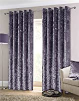 """Luxury Thick Crushed Velvet Amethyst Purple Lined Ring Top Woven Curtains 90"""" X 90"""" by Curtains"""