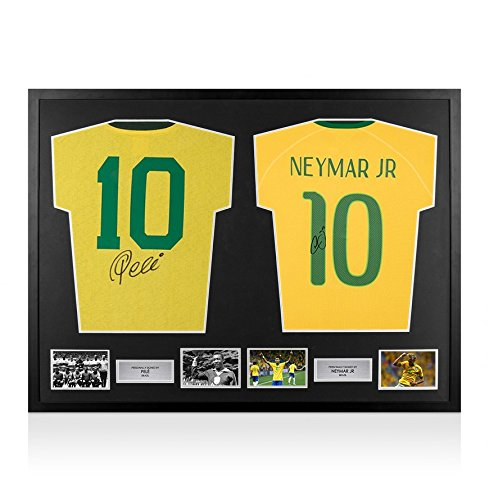 Framed-Pele-Neymar-Jr-Signed-Brazil-Shirts-Dual-Framed