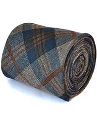 Frederick Thomas slim navy and brown 100% wool tweed check tie