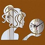 JIANGYE DIY Espejo acrílico 3D Cuarzo silencioso Reloj de Pared números arábigos Hermosa Mujer Reloj de Pared Pegatina Inicio Dormitorio Sala de Estar decoración de diseño de Pared,Silver