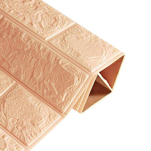 Jaminy Neue PE Foam 3D Tapete DIY Wandaufkleber Wanddekor Geprägte Ziegel Stein (60X60X0,8 cm) (Khaki)