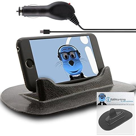 HTC Explorer Nero Pegajoso (SIN PEGAMENTO) Mat antideslizante En Dashboard de coches Tabla Vertical / Horizontales Holder con 1000mAh Micro USB Caricabatteria da Auto