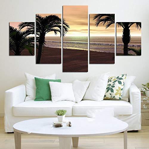 mmwin Leinwand HD Prints Home Dekorative Meer Landschaft 5 Stücke Für Nacht Hintergrund Wandkunst Modulare Bilder Kunstwerk Poster