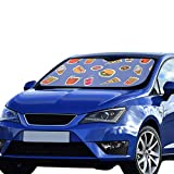 Car Window Shade Kinder Fast Food Hamburg Pizza Fries Zeichnung Faltbarer Sonnenschutz Für maximalen UV- und Sonnenschutz Halten Sie Ihr Fahrzeug kühl. 55 x 30 Zoll (140 x 75 cm) Car Uv Sun Shade