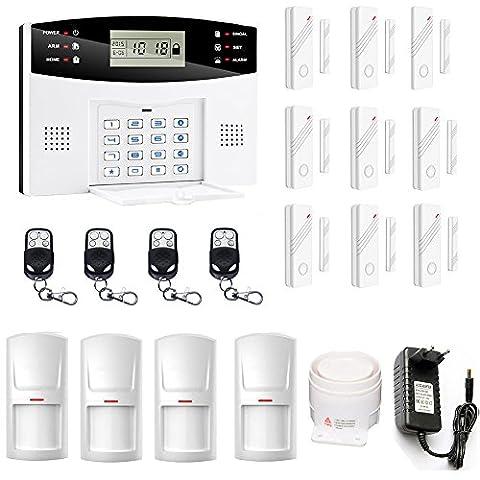 SZABTO DIY Home Security Solution Système d'alarme GSM avec capteurs de porte et détecteur de mouvement Pour la sécurité de la maison