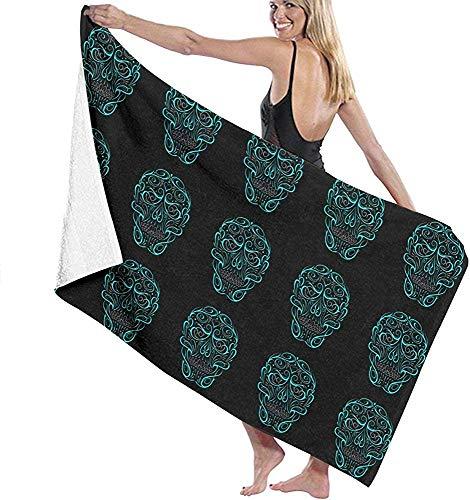 Lfff Mikrofaser Strandtuch Schädelform Türkis Badetuch Stranddecke Schnelltrocknendes Handtuch für die Reise Schwimmbecken Yoga 80cmx130cm