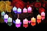 12er Set Flammenlose Farbenwechselnde LED-Kerzen / Leuchten mit Batterien von PK Green
