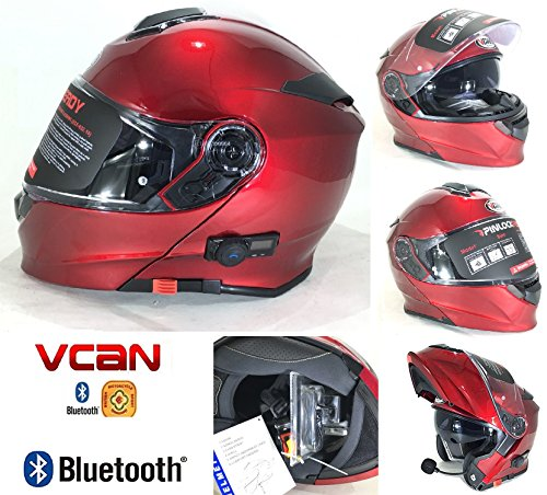 Casco bluetooth moto vcan v271 lightning blinc bluetooth touring casco modular mp3 sat nav flip front helm, burgundy - borgogna - s