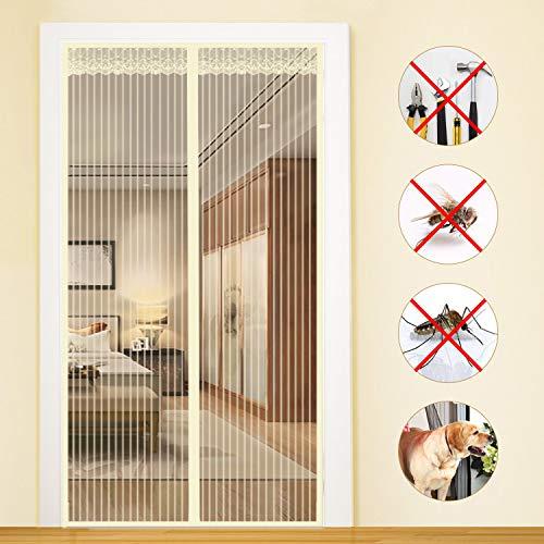 Zanzariere magnetica per porte 100x210cm, zanzariere magnetica, chiuso automaticamente pieghevole, impedendo agli insetti di entrare - beige